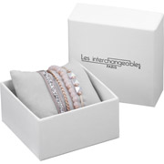 Bijoux Les Interchangeables - Set de bracelets, 4 pcs, Strass box, dor. or rose, cristal Swarovski, beige