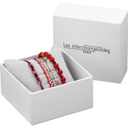 Bijoux Les Interchangeables - Set de bracelets, 4 pcs, Strass box, dor. or, cristal Swarovski, Rouge