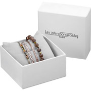 Bijoux Les Interchangeables - Set de bracelets, 4 pcs, Strass box, dor. or rose, cristal Swarovski, Beige 2