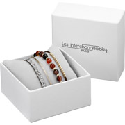 Bijoux Les Interchangeables - Set de bracelets, 4 pcs, Strass box, dor. or, cristal Swarovski, Marron 134