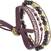 Bijoux Les Interchangeables - Set de bracelets, 4 pcs, Strass Box Nameless, cristal Swarovski, Bordeaux