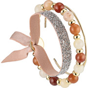 Bijoux Les Interchangeables - Set de bracelets, 3 pcs, Strass Box Fabric 9, cristal Swarovski, Orange
