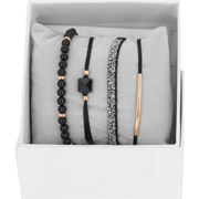Bijoux Les Interchangeables - Bracelets Strass Box Fabric 4, dorure or rose, Noir, Ø50mm
