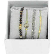 Bijoux Les Interchangeables - Bracelets Strass Box Fabric 4, dorure or jaune, Beige 1, Ø50mm