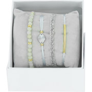 Bijoux Les Interchangeables - Bracelets Strass Box Fabric 4, dorure or jaune, Gris 1, Ø50mm