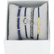 Bijoux Les Interchangeables - Bracelets Strass Box Fabric 4, dorure or jaune, Marine, Ø50mm
