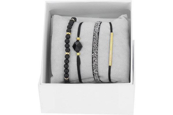 Bracelets Strass Box Fabric 4, dorure or jaune, Noir, Ø50mm Les Interchangeables