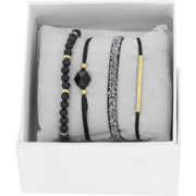 Bijoux Les Interchangeables - Bracelets Strass Box Fabric 4, dorure or jaune, Noir, Ø50mm