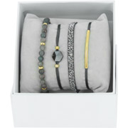 Bijoux Les Interchangeables - Bracelets Strass Box Fabric 4, dorure or jaune, Marron Foncé, Ø50mm