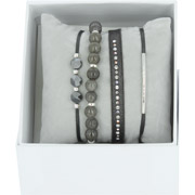 Bijoux Les Interchangeables - Bracelets Strass Box New 1 Rang 6, mét. Palladium, Marron Foncé, Ø50mm
