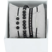 Bijoux Les Interchangeables - Bracelets Strass Box New 1 Rang 6, mét. Palladium, Noir, Ø50mm
