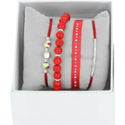 Bijoux Les Interchangeables - Bracelets Strass Box New 1 Rang 6, mét. Palladium, Rouge, Ø50mm
