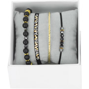Bijoux Les Interchangeables - Bracelets Strass Box Bobo Chic, dorure or jaune, Noir, Ø50mm