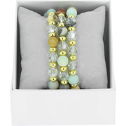 Bijoux Les Interchangeables - Bracelets Strass Box Trio Sparkle, dorure or jaune, Gris 48, Ø50mm