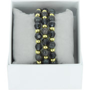 Bijoux Les Interchangeables - Bracelets Strass Box Trio Sparkle, dorure or jaune, Marron Foncé, Ø50mm