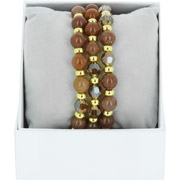 Bijoux Les Interchangeables - Bracelets Strass Box Trio Sparkle, dorure or jaune, Marron Glacé, Ø50mm