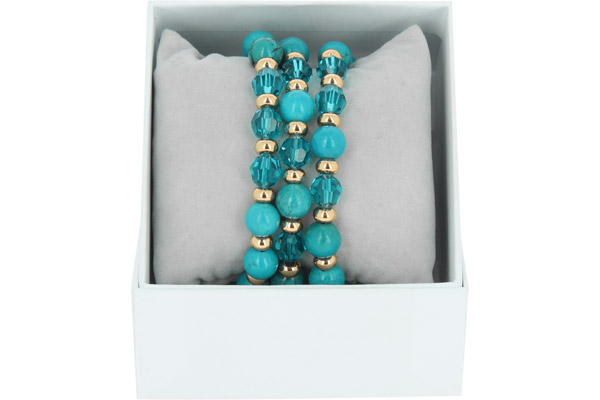 Bracelets Strass Box Trio Sparkle, dorure or rose, Bleu Jean, Ø50mm Les Interchangeables