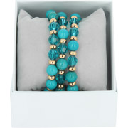 Bijoux Les Interchangeables - Bracelets Strass Box Trio Sparkle, dorure or rose, Bleu Jean, Ø50mm