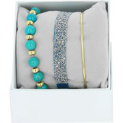 Bijoux Les Interchangeables - Bracelets Strass Box Fabric 9, dorure or jaune, Bleu Jean, Ø50mm