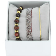 Bijoux Les Interchangeables - Bracelets Strass Box Fabric 9, dorure or jaune, Bordeaux Fonce, Ø50mm