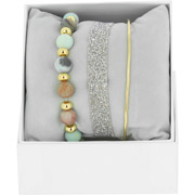 Bijoux Les Interchangeables - Bracelets Strass Box Fabric 9, dorure or jaune, Gris 48, Ø50mm
