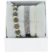 Bijoux Les Interchangeables - Bracelets Strass Box Fabric 9, dorure or jaune, Marron Foncé, Ø50mm