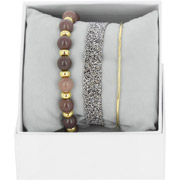 Bijoux Les Interchangeables - Bracelets Strass Box Fabric 9, dorure or jaune, Marron Glacé, Ø50mm