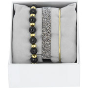 Bijoux Les Interchangeables - Bracelets Strass Box Fabric 9, dorure or jaune, Noir, Ø50mm