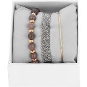 Bijoux Les Interchangeables - Bracelets Strass Box Fabric 9, dorure or rose, Marron Glacé, Ø50mm