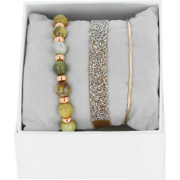 Bijoux Les Interchangeables - Bracelets Strass Box Fabric 9, dorure or rose, Ocre 77, Ø50mm