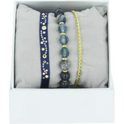 Bijoux Les Interchangeables - Bracelets Strass Box Arabesque, dorure or jaune, Marine-Golden Shadow, Ø50mm