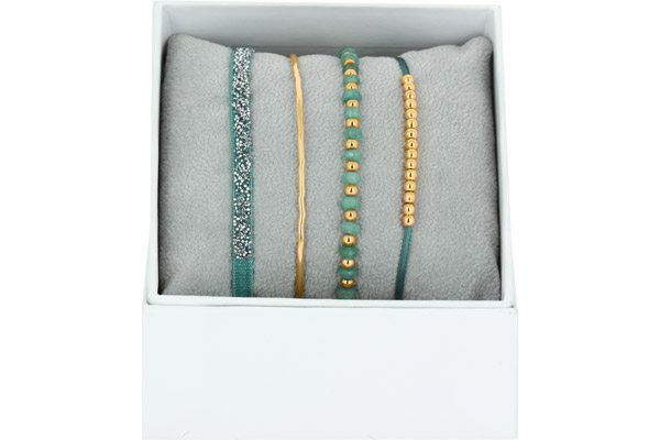 Bracelets Strass Box La Malicieuse, dorure or jaune, Vert 1, Ø50mm Les Interchangeables