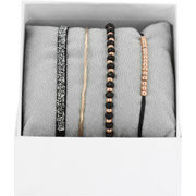 Bijoux Les Interchangeables - Bracelets Strass Box La Malicieuse, dorure or rose, Noir, Ø50mm