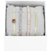 Bijoux Les Interchangeables - Bracelets Strass Box La Re-Belle, dorure or jaune, Beige Rose 1, Ø50mm