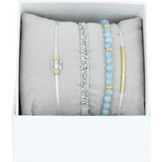 Bijoux Les Interchangeables - Bracelets Strass Box La Re-Belle, dorure or jaune, Bleu Bernadette Clair, Ø50mm