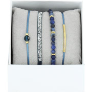 Bijoux Les Interchangeables - Bracelets Strass Box La Re-Belle, dorure or jaune, Bleu Jean, Ø50mm