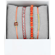 Bijoux Les Interchangeables - Bracelets Strass Box La Re-Belle, dorure or jaune, Corail, Ø50mm