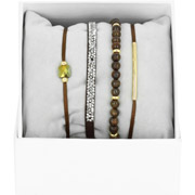 Bijoux Les Interchangeables - Bracelets Strass Box La Re-Belle, dorure or jaune, Marron, Ø50mm