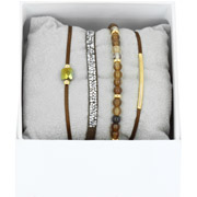 Bijoux Les Interchangeables - Bracelets Strass Box La Re-Belle, dorure or jaune, Marron 74, Ø50mm