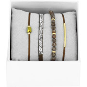 Bijoux Les Interchangeables - Bracelets Strass Box La Re-Belle, dorure or jaune, Marron Foncé, Ø50mm