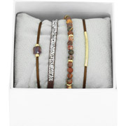 Bijoux Les Interchangeables - Bracelets Strass Box La Re-Belle, dorure or jaune, Marron Glacé, Ø50mm