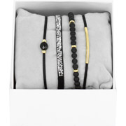 Bijoux Les Interchangeables - Bracelets Strass Box La Re-Belle, dorure or jaune, Noir, Ø50mm