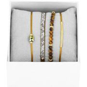 Bijoux Les Interchangeables - Bracelets Strass Box La Re-Belle, dorure or jaune, Ocre, Ø50mm