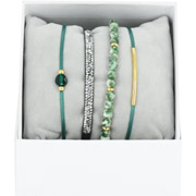 Bijoux Les Interchangeables - Bracelets Strass Box La Re-Belle, dorure or jaune, Vert, Ø50mm