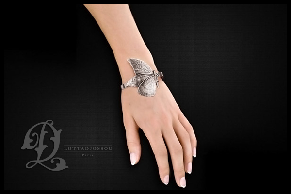 Bracelet manchette Papillon, plaquage argent 925, Ø60mm Lottadjossou, packaging