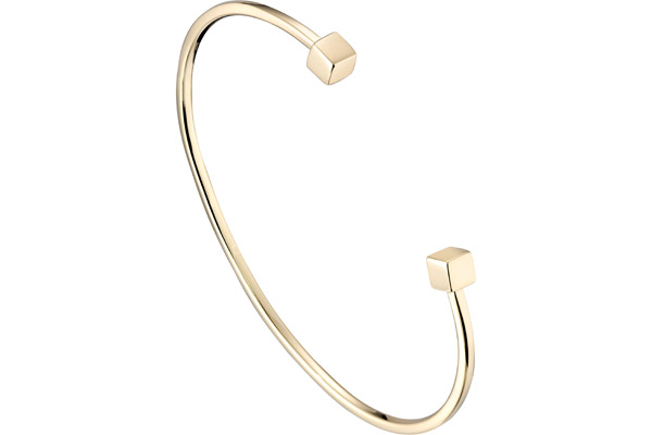 Bracelet jonc The Cube, plaqué or 18K, Ø55mm Louise Hendricks