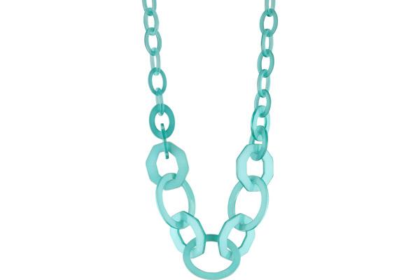 Collier duo maillons oversize en acétate, Cyan My Clio