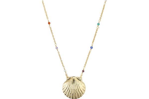 Collier Mahe, dorure or fin, Multicolore Nilaï