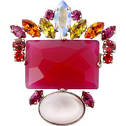 Bijoux Philippe Ferrandis - Broche Lime Light, dorure or fin, fushia