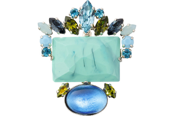 Broche Lime Light, dorure or fin, Turquoise Philippe Ferrandis